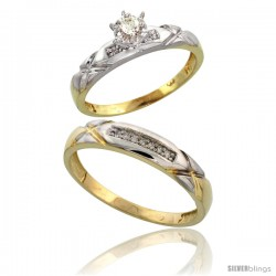 Gold Plated Sterling Silver 2-Piece Diamond Wedding Engagement Ring Set for Him & Her, 3.5mm & 4mm wide