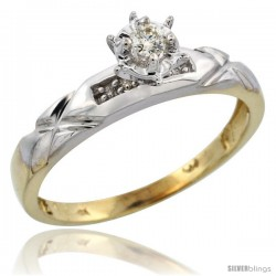 Gold Plated Sterling Silver Diamond Engagement Ring, 1/8 in wide