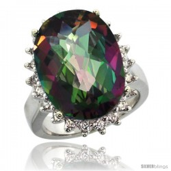 14k White Gold Diamond Halo Mystic Topaz Ring 10 ct Large Oval Stone 18x13 mm, 7/8 in wide