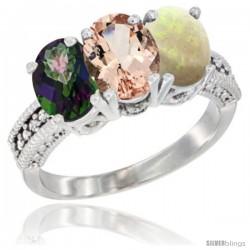 14K White Gold Natural Mystic Topaz, Morganite & Opal Ring 3-Stone 7x5 mm Oval Diamond Accent