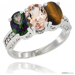 14K White Gold Natural Mystic Topaz, Morganite & Tiger Eye Ring 3-Stone 7x5 mm Oval Diamond Accent