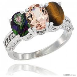 14K White Gold Natural Mystic Topaz, Morganite & Tiger Eye Ring 3-Stone 7x5 mm Oval Diamond Accent