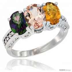 14K White Gold Natural Mystic Topaz, Morganite & Whisky Quartz Ring 3-Stone 7x5 mm Oval Diamond Accent