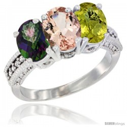 14K White Gold Natural Mystic Topaz, Morganite & Lemon Quartz Ring 3-Stone 7x5 mm Oval Diamond Accent