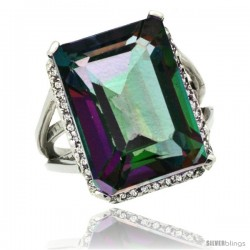 14k White Gold Diamond Mystic Topaz Ring 14.96 ct Emerald shape 18x13 mm Stone, 13/16 in wide