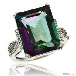 14k White Gold Diamond Mystic Topaz Ring 12 ct Emerald Shape 16x12 Stone 3/4 in wide