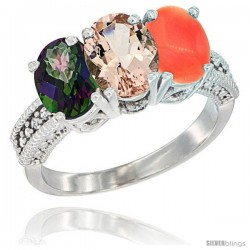 14K White Gold Natural Mystic Topaz, Morganite & Coral Ring 3-Stone 7x5 mm Oval Diamond Accent