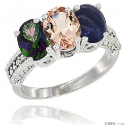14K White Gold Natural Mystic Topaz, Morganite & Lapis Ring 3-Stone 7x5 mm Oval Diamond Accent