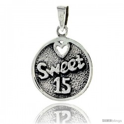Sterling Silver Quinceanera Sweet 15 Round Talking Pendant, 3/4 in tall