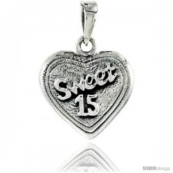 Sterling Silver Quinceanera Sweet 15 Heart-shaped Pendant, 7/8 in tall