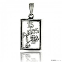 Sterling Silver Quinceanera 15 Anos Frame Pendant, 1 1/16 in wide