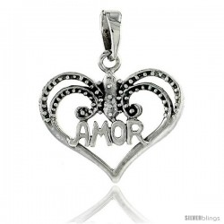 Sterling Silver AMOR Heart Cut-out Pendant, 1 in wide