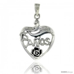 Sterling Silver Quinceanera 15 Anos Heart Cut-out w/ Rose Pendant, 1 in wide