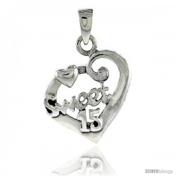 Sterling Silver Quinceanera 15 Anos Fancy Heart Cut-out Pendant, 7/8 in wide