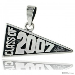 Sterling Silver Class of 2007 Graduation Pendant, 1 1/8 in wide