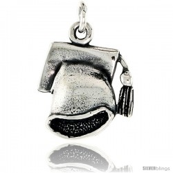 Sterling Silver Graduation Cap Pendant, 3/4 in tall
