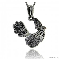 Sterling Silver Bird Pendant, 1 1/8 in tall