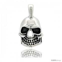 Sterling Silver 3-Dimensional Skull Pendant w/ Initial R on Bale, 1 1/4 in tall