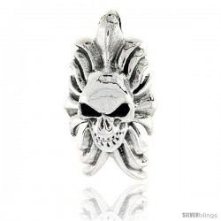 Sterling Silver Skull and Flames Pendant, 1 1/8 in tall