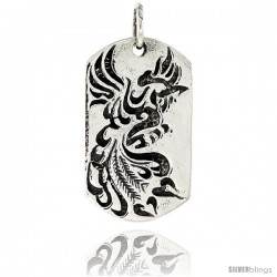 Sterling Silver Peacock Dog Tag Pendant, 1 1/2 in tall