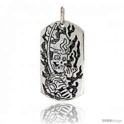 Sterling Silver Dog Tag Skull & Sword Pendant, 1 1/2 in tall