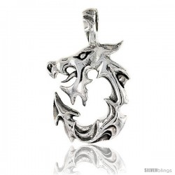 Sterling Silver Dragon Pendant, 1 1/16 in tall