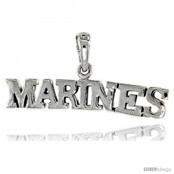 Sterling Silver United States MARINES Talking Pendant, 1 1/4 in wide