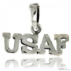 Sterling Silver United States Air Force USAF Talking Pendant, 3/4 in wide