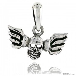 Sterling Silver Winged Skull Pendant, 3/4 in tall