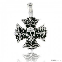 Sterling Silver Iron Cross w/ Skull Pendant, 3/4 in tall