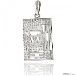 Sterling Silver Chai Pendant, 1 1/8 in tall