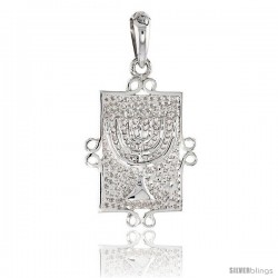 Sterling Silver MENORAH Pendant, 1 1/16 in tall -Style Pa2116