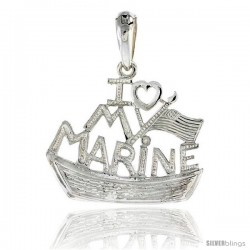 Sterling Silver I Love My Marine Pendant, 7/8 in tall