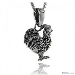 Sterling Silver Rooster Pendant, 3/4 in tall -Style Pa212