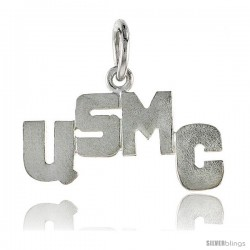 Sterling Silver USMC United States Marine Corps Talking Pendant, 7/8 in wide