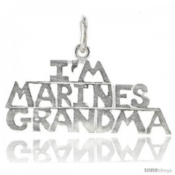 Sterling Silver I'M MARINES GRANDMA Talking Pendant, 1 1/8 in wide