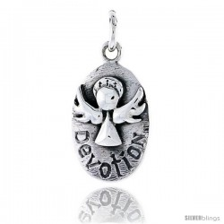 Sterling Silver Guardian Angel DEVOTION Inspirational Pendant, 3/4 in tall