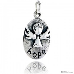 Sterling Silver Guardian Angel HOPE Inspirational Pendant, 3/4 in tall