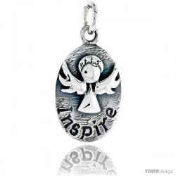 Sterling Silver Guardian Angel INSPIRE Inspirational Pendant, 3/4 in tall