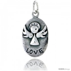 Sterling Silver Guardian Angel LOVE Inspirational Pendant, 3/4 in tall