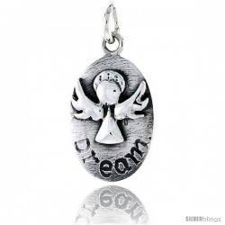 Sterling Silver Guardian Angel DREAM Inspirational Pendant, 3/4 in tall