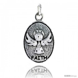Sterling Silver Guardian Angel FAITH Inspirational Pendant, 1 in tall