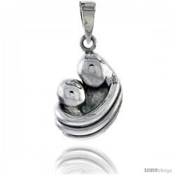 Sterling Silver Mother & Baby Pendant, 7/8 in tall
