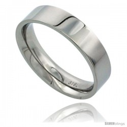 Surgical Steel 5mm Wedding Band Thumb Ring Comfort-Fit High Polish