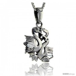Sterling Silver Swans Pendant, 1 1/4 in tall