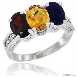 10K White Gold Natural Garnet, Whisky Quartz & Lapis Ring 3-Stone Oval 7x5 mm Diamond Accent