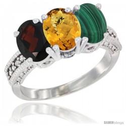 10K White Gold Natural Garnet, Whisky Quartz & Malachite Ring 3-Stone Oval 7x5 mm Diamond Accent