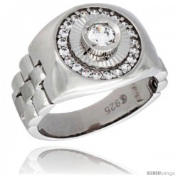 Sterling Silver Men's Style Round Ring Brilliant Cut Cubic Zirconia Stones, 14mm (9/16 in) wide