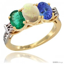 10K Yellow Gold Natural Emerald, Opal & Tanzanite Ring 3-Stone Oval 7x5 mm Diamond Accent