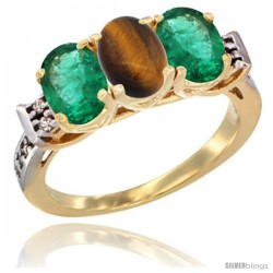 10K Yellow Gold Natural Tiger Eye & Emerald Sides Ring 3-Stone Oval 7x5 mm Diamond Accent